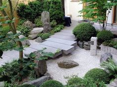 Japanese Style Backyard With Concrete Bridge : Landscaping And Outdoor Building , Beautiful Japanese Style Backyard
