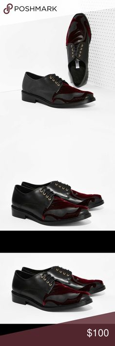 """Miista Zoe Leather Oxford **Never been worn!!** """"The Zoe Oxford is made in black leather and features burgundy velvet detailing, gold grommets, and slight stacked heel. Genuine leather lining and cushioned insole. The perfect pain-free holiday shoe - wear it with a cropped knit and black jumper or lace bra, silk top, and high-waisted shorts."""" Bought on Nasty Gal. Miista Shoes"""