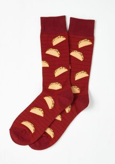 Taco Toes-day Men's Socks. Feed your guys unyielding appetite for unique footwear by bestowing upon him these burgundy socks! #red #modcloth