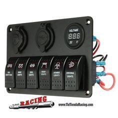 84,79€ - ENVÍO SIEMPRE GRATUITO - Panel de Control 6 Interruptores + Doble USB 12V-24V + Voltímetro Tornillería y Pegatinas Color Rojo - TUTIENDARACING