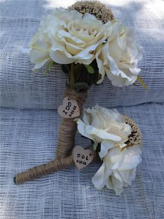 Personalized  Heart Shabby Chic flower bouquet Gift Tag Rustic Wedding Favor Wood Scrapbooking Bride Groom Sign Card Making Shaby. $4.00, via Etsy.