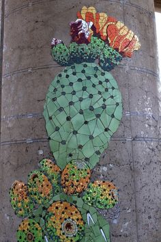 cactus, mosaic mural, metro station in Puente Alto, Chile Mosaic Wall, Mosaic Glass, Mosaic Tiles, Mosaics, Mosaic Mirrors, Mosaic Crafts, Mosaic Projects, Garden Projects, Mosaic Flowers