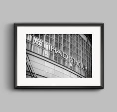 Black and white landscape photograph of the Etihad Stadium by PGroganPhotography, available on Etsy