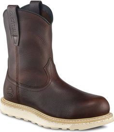 Red Wing Safety Boots - 83909 Irish Setter Work Men's - 9-inch Pull-On Brown