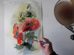"Watercolour demo - aquarelle ""Poppies"".  Coquelicots"