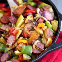 Kielbasa, Peppers, and Potato Hash Skillet
