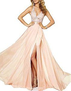 Amazon.com: Emmani Women's Spaghetti V-neck Side Split Backless Long Prom Dresses: Clothing