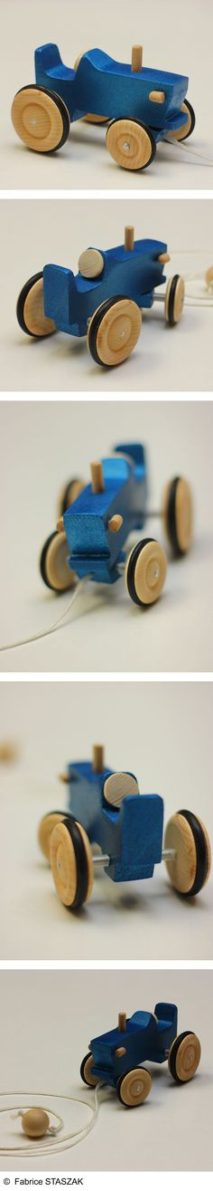 Blue Tractor made in wood. Wood toy. Wood vehicule. Jouet en bois. Tracteur en…