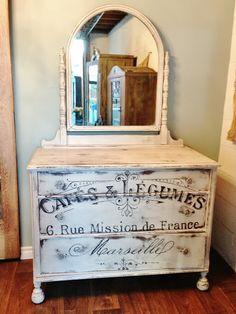 Image Transfer Antique Dresser Milk Paint Grain Sack