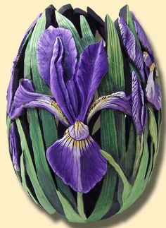 Hand-carved gourd by Phyllis Sickles.