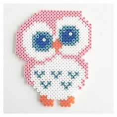 Eule-pearl-a-board-hama-kawaii manualidades kawaii Perler Bead Designs, Easy Perler Bead Patterns, Melty Bead Patterns, Hama Beads Design, Diy Perler Beads, Perler Bead Art, Beading Patterns, Hama Beads Kawaii, Embroidery Patterns