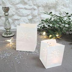 Photophore sac lumineux en papier ignifugé blanc (set de 5)