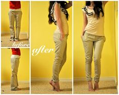 diy skinny jeans... convert big, schlumpy pants into cute fitted ones! Makes me wish I could sew.