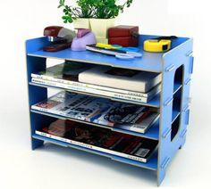 Menu Life Desk File Letter Trays DIY File Desk File Storage Cabinet Box Magazine Rack (Light Blue)