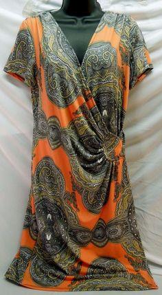 AMAZING #WrapDress tangerine orange #Paisley Stretch Summer Dress #PlusSizeDress #AAStudoAA