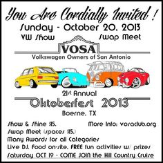 21th Annual V.O.S.A. Oktoberfest -   Presented by:   VOSA, The Volkswagen Owners of San Antonio, TX