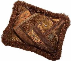 Brussels Luxury Bedding pieced rectangle Accent Pillow of bronze and gold velvet with faux silk patterns finished off with trims and embellishments by Reilly-Chance Collection!