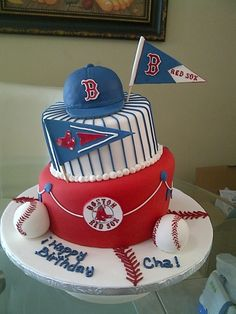 Baseball Red Sox By yanira1973 on CakeCentral.com