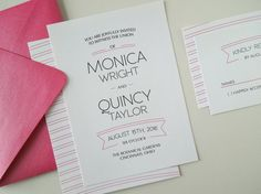 Printable Casual Wedding Invitation Set  Pink Modern by InvitedToo, $40.00