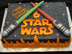 "Who doesn't LOVE Star Wars?!? Even better when it's a delicious half sheet of ""Vanilla Dream"" and ""Buttermilk Chocolate"" cake. Covered in fondant and buttercream, it's a completely edible dream come true!! Created by ""Yummy Cakes by Leeanne""."