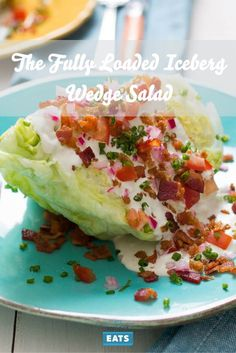 Fully Loaded Iceberg Wedge Salad This classic salad is a celebration of rich, cooling flavors and a diversity of textures.This classic salad is a celebration of rich, cooling flavors and a diversity of textures. Bacon Recipes, Cooking Recipes, Healthy Recipes, Healthy Salads, Cooking Ideas, Yummy Recipes, Keto Recipes, Healthy Food, Iceberg Wedge Salad