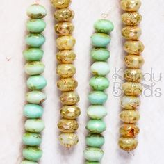 Czech Glass Rondelle Beads Mint Green Rondelle Beads by KanduBeads