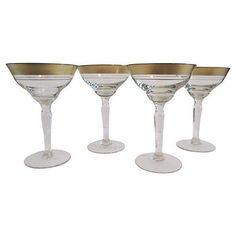 Image of Gold Banded Cocktail Glasses - Set of 4