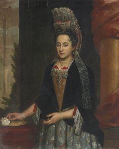 Italian School, circa 1690 PORTRAIT OF A LADY, HALF LENGTH, IN A MANTUA GOWN AND LACE FRELANGE HEADDRESS