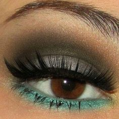 Ideas for Beauty (green eyeshadow,brown eyes,eyeshadow,pretty eyes,makeup) Pretty Makeup, Love Makeup, Makeup Looks, Hair Makeup, Green Makeup, Teal Makeup, Gorgeous Makeup, Simple Makeup, Awesome Makeup