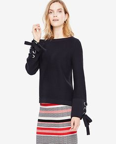 Shop Ann Taylor for effortless style and everyday elegance. Our Grommet Tie  Sleeve Sweater is the perfect piece to add to your closet. 30b796d70