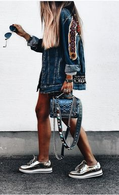 LOVE this funky boho detailed denim jacket look