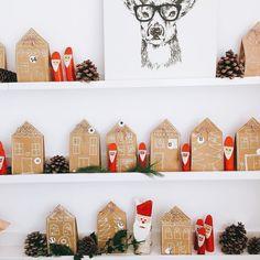 Adventskalender in Häuserform aus Papiertüten. Einfach und schnell gemacht.