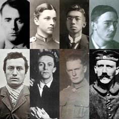 The leaders of the Axis Powers of WWII as young adults, some older, some younger. Left to right, top to bottom:  Albert Speer, Carl Gustav Emil Mannerheim, Emperor Hirohito (Shōwa), Heinrich Himmler, Benito Mussolini, Joseph Goebbels, Hermann Göring, and Adolf Hitler.   {Note that Hideki Tojo is not included only because the photo of him as a young guy is of really abhorrent quality. Feel free to look him up yourself}. ----------------------