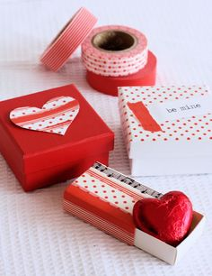 Washi Tape Valentine boxes. Cute!
