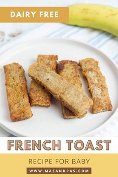 Cook up these easy french toast sticks for a quick breakfast recipe for baby! The healthy recipe is just 3 ingredients and uses no milk or eggs so you can avoid dairy or eggs until your infant is old enough. Pull out some bread, coconut milk, and banana, and you're all set to make this easy baby meal that's perfect for children starting finger foods on their baby led weaning journey. #babyfrenchtoast #babybreakfast #babyledweaningrecipe #easybabymeal Dairy Free French Toast, Vegan French Toast, Banana French Toast, Make French Toast, Baby Led Weaning Breakfast, Baby Breakfast, Baby Weaning, Healthy Meals For Kids, Healthy Breakfast Recipes
