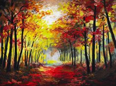 Oil painting landscape - colorful autumn forest photo