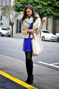 Tights and a scarf are prefect for extending summer dresses into the fall/winter