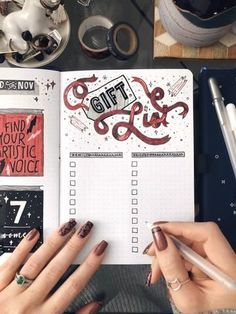 Holiday Gift List Bullet Journal Layout Archer and Olive The perfect bullet journal page for Christmas This gift list has a beautifully illustrated ribbon with an easy checklist to stay organized with your bullet journal Bullet Journal Mise En Page, December Bullet Journal, Bullet Journal 2020, Bullet Journal Notebook, Bullet Journal Inspo, Bullet Journal Spread, Bullet Journal Ideas Pages, Journal Pages, Bullet Journals