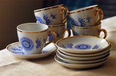 Blue and white coffee set - Keep your comrades warm with coffee served in these gorgeous little cups. Great Eastern bloc styling from the Cold War era. Set of six cups and saucers from theBrocante.co.uk