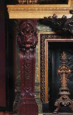 Monumental fireplace in the main foyer in the Opera of Paris. The jambs feature lions' heads and are sculpted in Griotte red marble. Fireplace Design, Fireplace Mantels, Italian Sculptors, Grand Foyer, Architectural Antiques, 18th Century, Paris, Art Decor, Sculpting