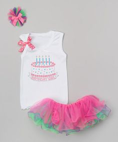 Look what I found on #zulily! White & Pink Five-Candle Cake Tutu Set - Girls #zulilyfinds
