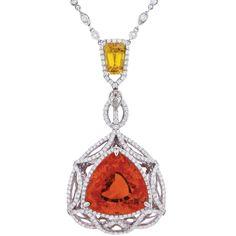 Mandarin garnet, yellow sapphire, and diamond pendant by Spark Creations