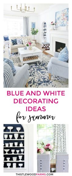 This post is all about summer tours and summer decorating ideas and general celebration. Check out the all these blue and white decorating ideas today for TONS of summer inspiration. Best Interior, Interior And Exterior, Interior Design, Summer Decorating, Decorating Ideas, Decor Ideas, Thistlewood Farms, White Decor, Home Hacks