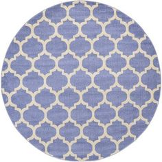 Charlton Home Moore Light Blue Area Rug Rug Size: Round 6'
