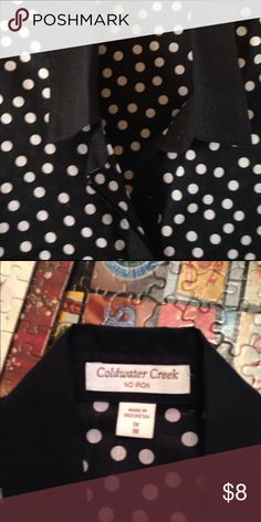 "Coldwater Creek Blouse Black/white polka dot ""No Iron"" Blouse 👚 which I ironed, it just looked better and I like to iron!! Coldwater Creek Tops Blouses"