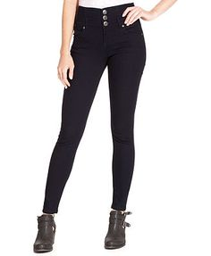 Celebrity Pink Jeans Juniors' Triple Button High Rise Skinny Jeans