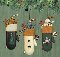 Kittens and Mittens Folk Art Ornaments Set of Three Williraye Studio