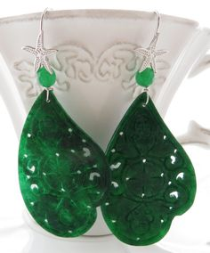 Jade Earrings Green Carved Dangle By Sofiasbijoux