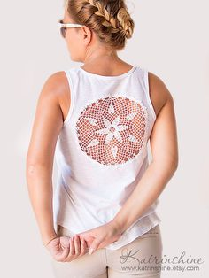 White Tank Top with upcycled vintage crochet doily back   - Crochet Upcycle Ideas