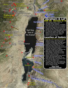 Archeological Bible study map of Israel in the days of Abraham and Lot. Bible Study Tools, Scripture Study, Abraham And Lot, Heiliges Land, Bible Mapping, Religion, Bible Resources, Bible College, Jewish History
